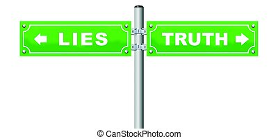 Truth Lies Street Sign Green - LIES TRUTH road sign, which...