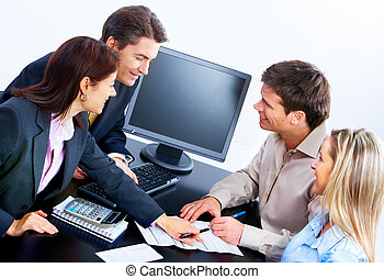 business people - Smiling business people working in office