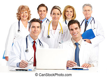 doctors - Smiling medical doctors with stethoscopes and...