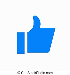Vector modern thumbs up icon on white background.