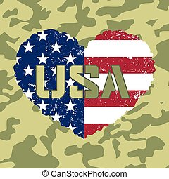 American flag heart military - Independence day USA...