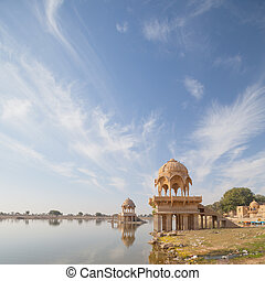 India, Rajasthan. View of the Gadisar Lake in the dry...