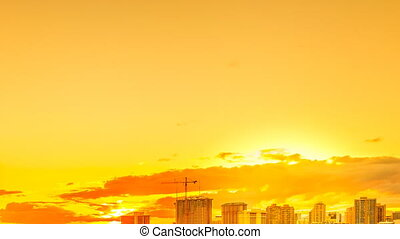 Hawaii hot sunset sky - Hot orange sky with moving clouds...