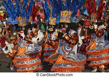 Morenada dancers at the Arica Carnival