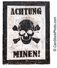 Poster - Caution, mines in German - Poster - Caution, mines!...