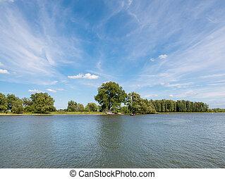Panorama of river Afgedamde Maas near Woudrichem,...
