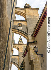 Earthquake Buttress in Arcos - Image of a buttress that is...