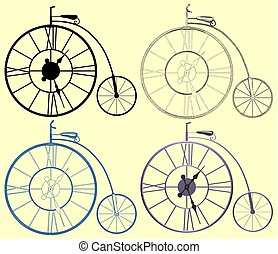 Decorative A Clock Penny-Farthing Bicycle Vector