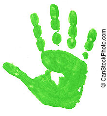 colorful hand prints - close up of colorful child hand...