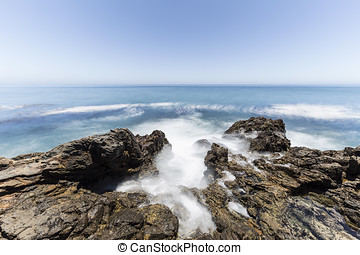 Tidal Pool with Motion Blur in Southern California - Tidal...