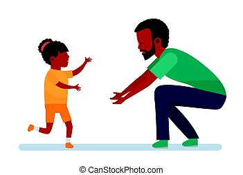 Happy African family. Family leisure. The girl laughs and...