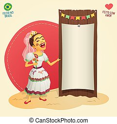 Brazilian June Party hick bride holding blank thematic board...