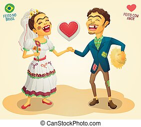 Brazilian June Party happy hick couple - Made in Brazil -...