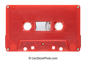 Red audio cassette isolated on background