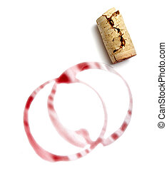 wine drink marks and cork - close up of red wine marks and...