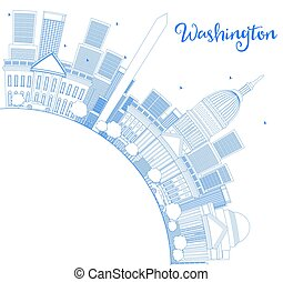 Outline Washington DC Skyline with Copy Space and Blue...