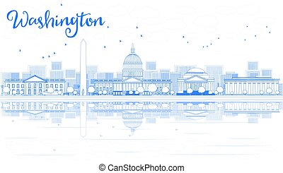 Outline Washington DC Skyline with Blue Buildings and Reflections.