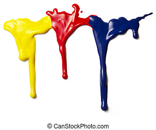 liquid paint drop - close up of colorful paints leaking down...