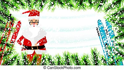 Santa Claus. Christmas background with fir branches, snow and skiing.