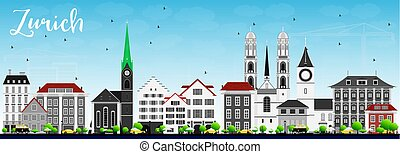 Zurich Skyline with Gray Buildings and Blue Sky. Vector...