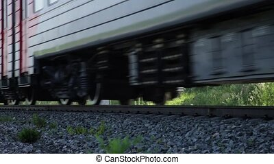 Moving train, only rails and wheels.