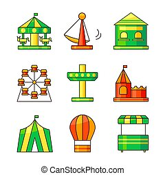 Amusement park vector icons