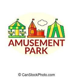 Amusement park vector icons - Amusement park outline concept...