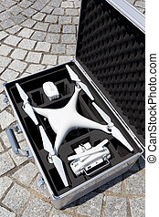Drone before the flight in metal bag - White drone before...
