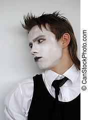 mime - pensive dramatic mime actor. Close-up