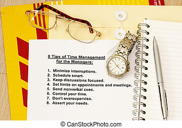 Eight tips for time management for managers - concept for...
