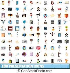 100 presentation icons set, cartoon style