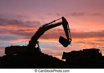 escavador, dumper, caminhão