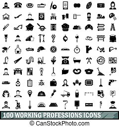 100 working professions icons set, simple style - 100...