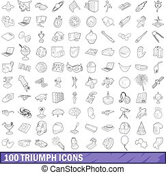 100 triumph icons set, outline style