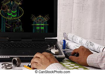 computador, ajudado, desenho