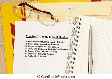 Seven deadly sin of Quality concept - many uses for company...