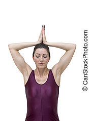 Woman doing yoga pose Sukhasana isolated on white background