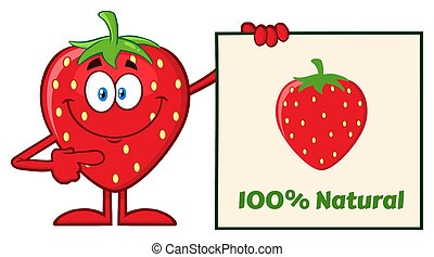 Smiling Strawberry Fruit Cartoon Mascot Character Pointing...