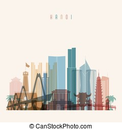 Hanoi skyline detailed silhouette. Transparent style. Trendy...
