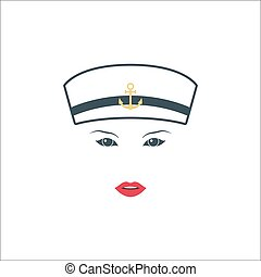 Girl sailor in white hat. Isolated on white background.