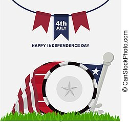 happy independence day banner design, with drum band and american flag