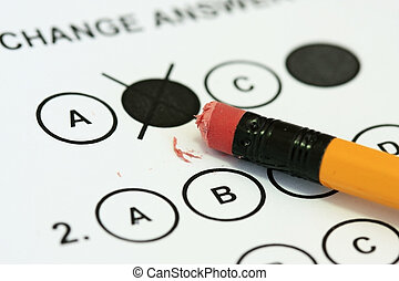 Change answer - Erasing an answer on a multiple choice exam...