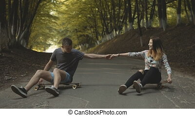 Hipsters Couple Having Fun - Teenagers boy and girl having...