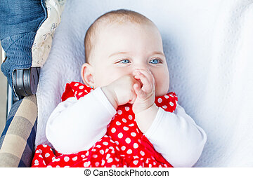 Adorable baby girl - Portrait photo of blue eyed adorable...