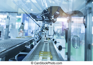 Industrial robot with conveyor in manufacture factory,Smart...