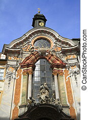 Historic facade of the baroque Asam Church (Asamkirche) in...