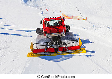Ski resort maintenance - Photo of red ratrak in action on...