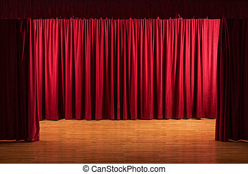The stage - theatrical scene with red curtains