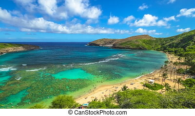Snorkeling in Hanauma Bay - Aerial view time lapse with...