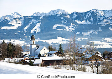 winter bavaria - village ofterschwang in the bavarian alps...